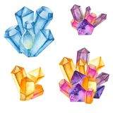 Watercolor colored crystals. royalty free stock images