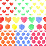 Watercolor colored heart,polka dot.Baby seamless. Watercolor artistic colored hearts and polka dot seamless pattern ,borders set.Hand drawing Baby background stock illustration