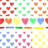 Watercolor colored heart seamless pattern.Baby Stock Images