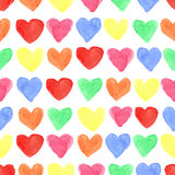 Watercolor colored hearts seamless pattern.Baby Stock Photo