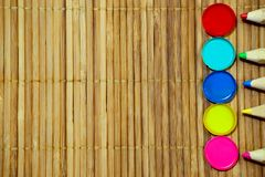 Watercolor and colored pencils royalty free stock images
