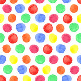 Watercolor colored polka dot seamless pattern.Baby Royalty Free Stock Image