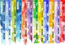 Watercolor colored striped calendar 2016 Royalty Free Stock Photo