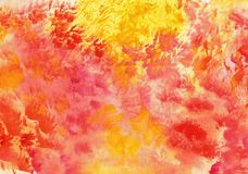 Watercolor colorful background in red and yellow colors.  Royalty Free Stock Photography