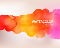 Watercolor colorful background. Vector illustration. Water, wet paper. Blobs, stain, paints blot. Composition for scrapbook elements. Invitation or greeting Royalty Free Stock Image