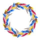 Watercolor colorful bird feather circle wreath composition isolated Royalty Free Stock Images