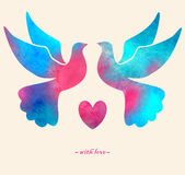 Watercolor colorful  bird. Watercolor painting. Two pigeons love silhouettes Stock Photography