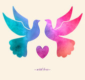 Watercolor colorful  bird. Watercolor painting.Two pigeons love. Watercolor colorful  bird.Watercolor painting.Two pigeons love silhouettes Royalty Free Stock Photography