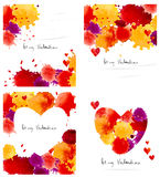 Watercolor colorful blot and heart frame collection Royalty Free Stock Image