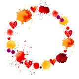Watercolor colorful blot and heart frame Stock Images