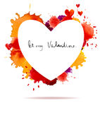 Watercolor colorful blot and heart frame Royalty Free Stock Photography