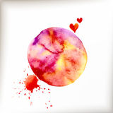 Watercolor colorful blot and heart Royalty Free Stock Photo
