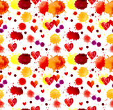 Watercolor colorful blot and heart, seamless pattern Stock Photography