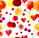 Watercolor colorful blot and heart, seamless pattern Royalty Free Stock Images