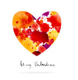 Watercolor colorful blot and heart Stock Photo