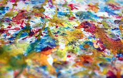 Watercolor colorful blurred brush strokes, vivid hues, spots. Hand made colorful waxy burnt burred design with  blue, gold, white, silvery, violet, vivid hues Royalty Free Stock Photos