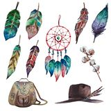Watercolor colorful boho set of dream catcher, feathers, cotton branch, bag and hat stock illustration