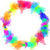 Watercolor colorful borders. Design for frame, wallpapers, covers and packaging. Watercolor oil acrylic colorful abstract background stock illustration
