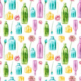 Watercolor Colorful Bottles And Flowers Seamless Pattern Stock Photography
