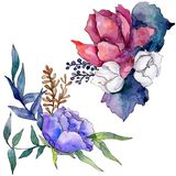 Watercolor colorful bouquet flower. Floral botanical flower. Isolated illustration element. vector illustration