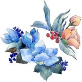 Watercolor colorful bouquet tropical flower. Floral botanical flower. Isolated illustration element. stock illustration