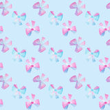 Watercolor colorful bows on blue background Stock Photography