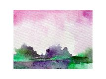Watercolor abstract bright colorful textural background handmade . Painting of sky  and clouds  . Landscape. Sea coast . Watercolor colorful bright textured Royalty Free Stock Image