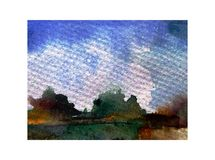 Watercolor abstract bright colorful textural background handmade . Painting of sky  and clouds  . Landscape. Sea coast . Watercolor colorful bright textured Royalty Free Stock Photo