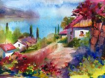 Watercolor colorful bright textured abstract background handmade . Mediterranean landscape . Painting of village of sea coast. Watercolor colorful bright royalty free illustration