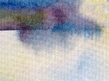 Watercolor abstract bright colorful textural background handmade . Painting of sky  and clouds  . Landscape. Sea coast . Watercolor colorful bright textured Stock Photography