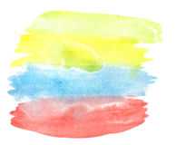 Watercolor colorful brush paint strokes Stock Image
