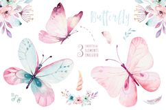 Free Watercolor Colorful Butterflies, Isolated On White Background. Blue, Yellow, Pink And Red Butterfly Illustration. Royalty Free Stock Photos - 115072938