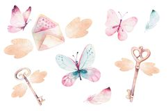 Watercolor colorful butterflies, isolated on white background. blue, yellow, pink and red butterfly illustration. Watercolor colorful butterflies, isolated on stock illustration