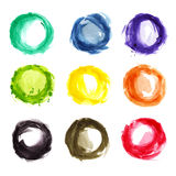 Watercolor colorful circles. Various watercolor colorful circles isolated royalty free illustration