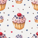 Watercolor colorful cupcake. Seamless pattern Royalty Free Stock Photography