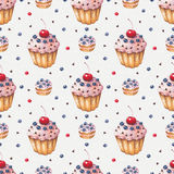 Watercolor colorful cupcake. Seamless pattern Royalty Free Stock Photo