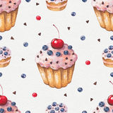 Watercolor colorful cupcake. Seamless pattern Stock Images