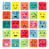 Watercolor colorful emoticons set. Royalty Free Stock Image