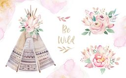 Watercolor colorful ethnic set of teepee and flowers bouquets in native American style.Tribal Navajo isolated wigwam. Watercolor colorful ethnic set of arrows vector illustration