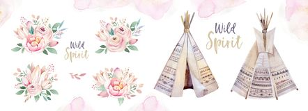Watercolor colorful ethnic set of teepee and flowers bouquets in native American style.Tribal Navajo isolated wigwam royalty free illustration