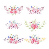 Watercolor colorful ethnic set of bouquet flowers in native Amer Royalty Free Stock Image