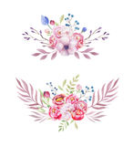 Watercolor colorful ethnic set of bouquet flowers in native Amer Stock Photos