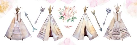 Watercolor colorful ethnic set of teepee and flowers bouquets in native American style.Tribal Navajo isolated wigwam. Watercolor colorful ethnic set of arrows stock photos