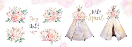Watercolor colorful ethnic set of teepee and flowers bouquets in native American style.Tribal Navajo isolated wigwam. Watercolor colorful ethnic set of arrows stock illustration