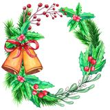 Watercolor colorful floral greeting decoration wreath stock illustration