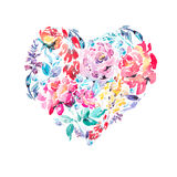 Watercolor colorful floral roses heart Stock Images