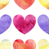 Watercolor colorful hearts love seamless pattern texture background Royalty Free Stock Photography