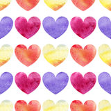 Watercolor colorful hearts love seamless pattern texture background Royalty Free Stock Photos