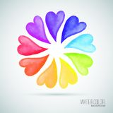 9 Watercolor colorful hearts. Vector illustration Royalty Free Stock Images