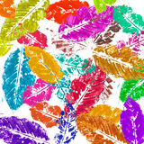 Watercolor colorful leaves Stock Photos